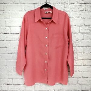 Chico's Coral Linen Button Down Blouse